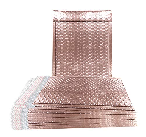 ABC 10 Pack Rose Gold Bubble mailers 9.5 x 13.5 Metallic Padded envelopes 9 1/2 x 13 1/2 Light Pink Cushion envelopes Peel and Seal. Shipping Bags for mailing, Packing. Packaging in Bulk, Wholesale.