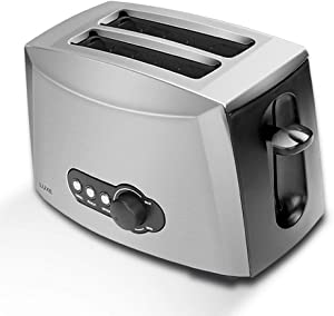 WXFXBKJ Bread Breakfast Machine,Toaster 2 Slices Stainless Steel Toaster Automatic Bread Maker Breakfast Baking Machine Two Slot Toast Sandwich Grill Oven Auto-Shutoff Button Removable Crumb Tray
