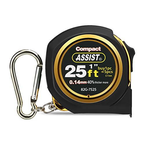 ASSIST 25ft(7.5m) Tape Measure Inches and Metric Measurement Double Sided Retractable Measuring Tape with Magnetic Hook Nylon Coated Ruler and Lock Carabiner for Homeowners DIYers Designers, Gold