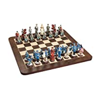WE Games Civil War Chess Set - Handpainted Pieces & Walnut Root Board 16 in.