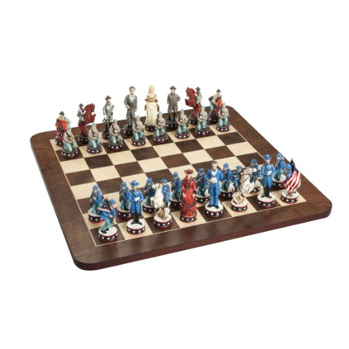- Wood Expressions WE Games Civil War Chess Set - Handpainted Pieces & Walnut Root Board 16 in.