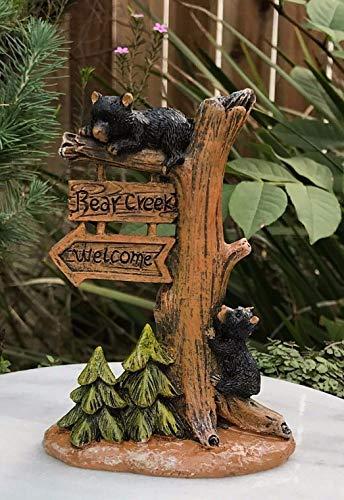 Fairy & Garden Magic Miniature Dollhouse Figurine ~ Bear Creek Tree Welcome Sign w Cubs Mini Garden Scene