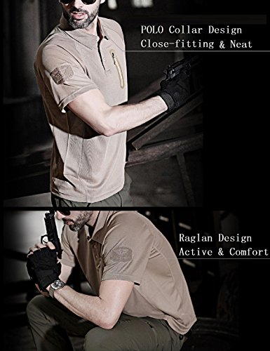 YFNT Homme Camouflage Revers T-Shirt Manches Courte de Plein Air Décontractée Séchage Rapide Respirant Tactique… 3