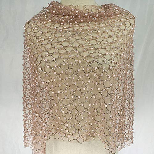 Organza Small Big Beaded Pearls Voile Dress Fabric Fancy Costumes Decorations Gradient Beaded Pearl Mesh Fabric by Yard (Pink)