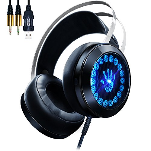 Read About AOSO G400 Gaming Headset PC Over Ear Stereo Headphones with LED Breathing Light Noise Iso...