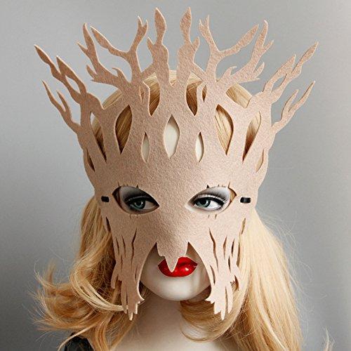 yanQxIzbiu Hollow Women Tree Trunk Face Eye Mask Masquerade Ball Halloween Cosplay Party - Beige -