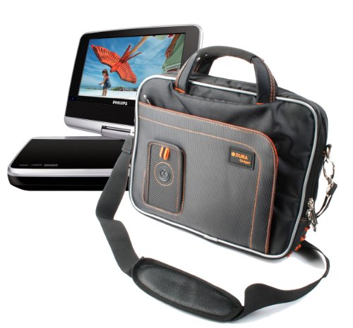Black and Orange Carry-Case With Storage For LCD Screen Por