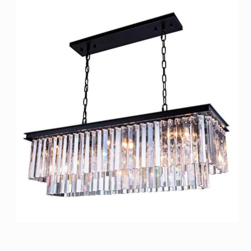 Yue Jia Luxury Contemporary Rectangular Island Crystal Chandelier Lighting Fixture for Dining Room L39'' x W10'' x H10'' by YUEJIA (Image #5)