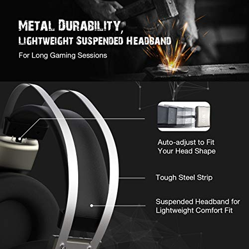 Mpow Eg3(Series II) PC Gaming Headset 7 1 Surround Sound, PS4 USB Headset  with Mic, Gaming Grade 50mm Drivers, Surround EQ Setting, Mic/Volume