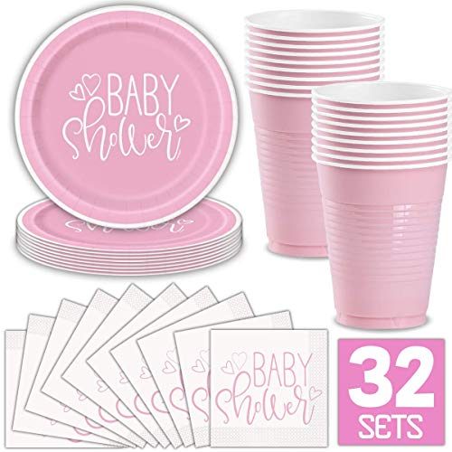 Girl Baby Shower Party Supplies for 32 Guests (Pink) Includes: Paper Plates, Luncheon Napkins, 16 oz Cups, Classy and Stylish Light Pink Design ()