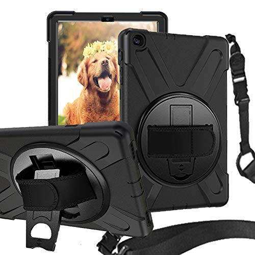 Rantice Samsung Galaxy Tab A 10.1 2019 Case, Heavy Duty Rugged Shockproof Drop Protection Case with 360 Stand, Handle Hand Strap & Shoulder Strap for Galaxy Tab A 10.1 SM-T510/T515 2019 (Black)