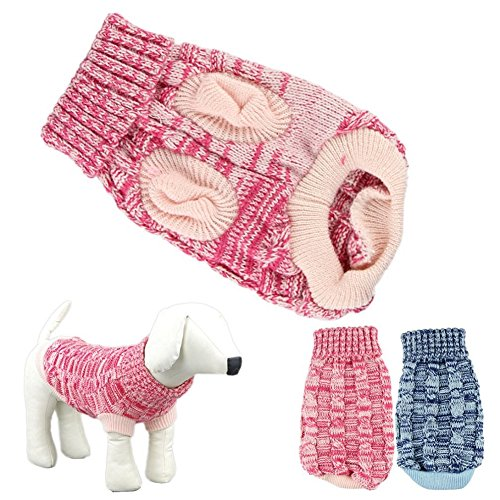 Small Dog Sweater, Amiley Pet Dog Puppy Cat Classic Twist Design Turtleneck Sweater Vest Apparel Knit Clothes Warm Costume Coat Jacket Christmas Gift (S, Red) ()
