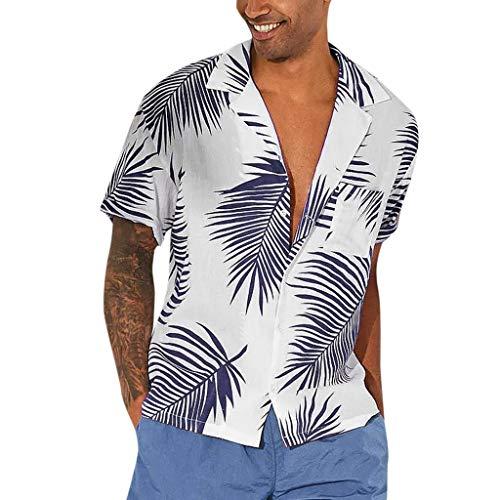 Serzul Hot!! Summer Beach Quick Dry Shirt Hawaiian Vacation Style Short Sleeve Top Stand Collar Print Blouse for Men Navy