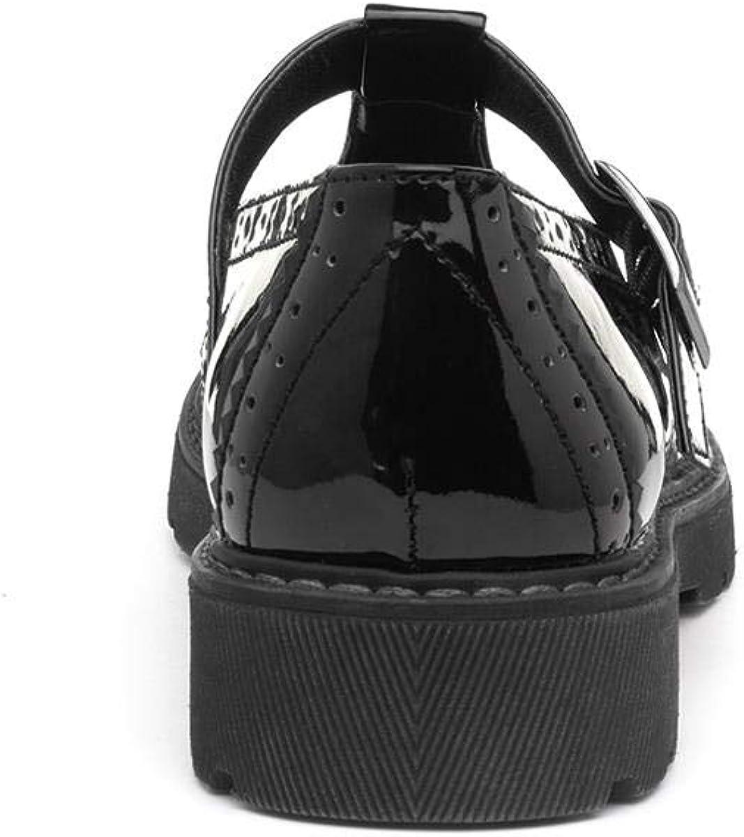 Lilley Womens Black T-Bar Brogue Shoe