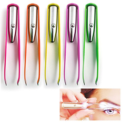 3 Stainless Steel Make Up LED Light Eyelash Eyebrow Hair Removal Lighted Tweezer