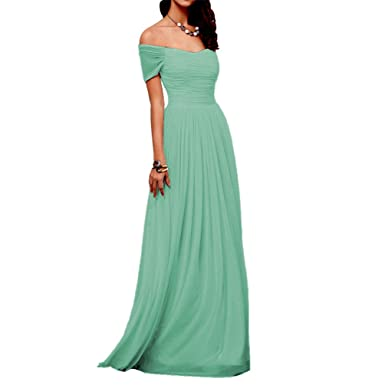 Dressyu Women Off Shoulder Long Chiffon Pleated Prom Gown Bridesmaid Dresses Aquamarine US2