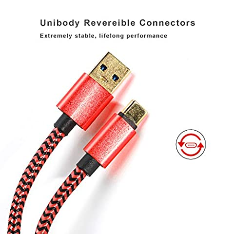 USB Type C Cable Gold Plated Quick Charge 3.0 Durable Braided 6ft Extral Long Thick Cord with Reversible Connector For New Macbook 12 inch, ChromeBook Pixel, Nokia N1 Tablet, Asus Zen AiO (Htc Av Cable)