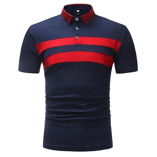 68fddea9c iHPH7 Mens Blouse Business Slim Fit Shirt Short-Sleeve Polo Tops ...