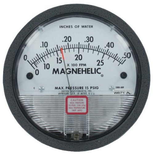 Dwyer Magnehelic Series 2000 Differential Pressure Gauge, Range 0-10'' WC & 0-12500 fpm