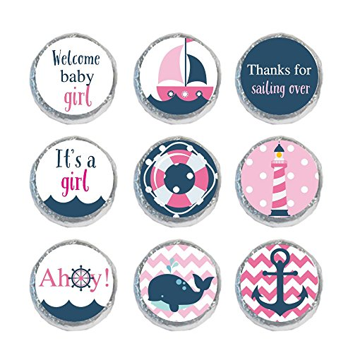 Digitaldoodlebug Mini Candy Stickers Baby Shower Favors Nautical Girl (Set of (Nautical Baby Shower Favors)