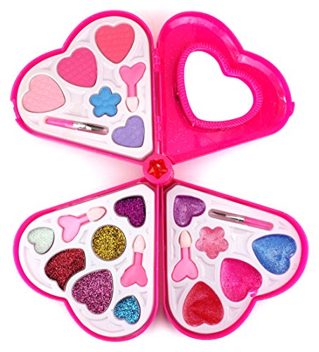 Fashion Girl Heart Mirror Case Pretend Play Toy Make Up Case Kit, Safe, Non-Toxic, Washable, Formulated for Children - Queen Of Hearts Make Up