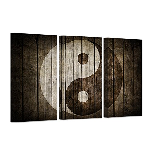 (Hello Artwork - Vintage Wall Art Canvas Black And White Yin Yang Symbol on Wood Backgroud Spiritual Peace Tao Gossip Chinse Religion Giclee Canvas Print For Home Living Room)