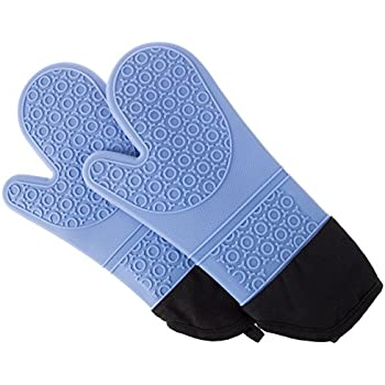 Silicone Oven Mitts - Extra Long Professional Quality Heat Resistant with Quilted Lining and 2-sided Textured Grip - 1 pair Blue by Lavish Home