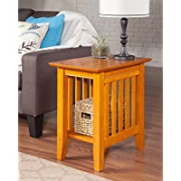Atlantic Furniture AH13207 Mission Side Table Rubberwood, Caramel Latte