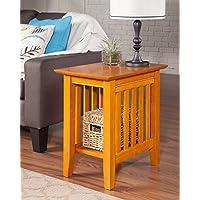 Atlantic Furniture AH13207 Mission Side Table Rubberwood, Caramel Latte