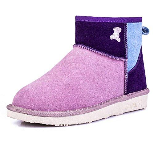SHANGXIAN Botas de mujer cálidas botas acolchadas Botines de cuero genuino Botas de gamuza suela suela suela zapatos Pink