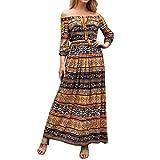 Big Promotion Caopixx Dresses for Women Lace Boho Maxi Dress Off Shoulder Long Sleeve Evening Party Dress