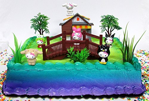 Hello Kitty Birthday Cake Topper Set Featuring Hello Kitty and Friends Figures and Decorative Themed Accessories
