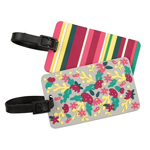 Travelon Set of 2 Luggage Tags, Floral/Stripe