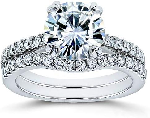 Kobelli Forever One Moissanite and Lab Grown Diamond Bridal Rings Set 2 1/3 CTW 14k White Gold (DEF/VS)