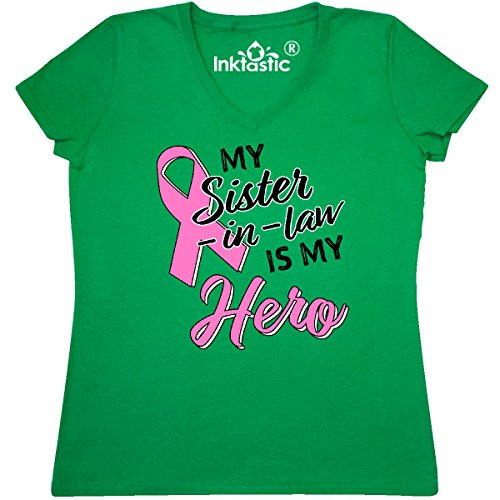Inktastic - My Sister-in-law is my Women's V-Neck T-Shirt X-Large Kelly (Pink Ribbon Green T-shirt)