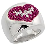 Sterling Silver Heart Pink Topaz Rainbow CZ Cigarband Ring 11/16 inch, size 8