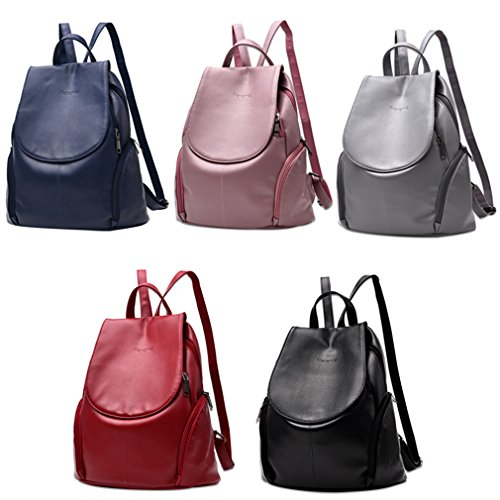 Women Satchel Shoulder Bags Red Zipper Bag Fashion Leather School Casual Backpacks 16nqwPra1