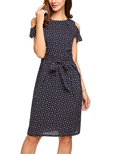 Summer Cold Floral Print Short Sleeve Slim Dress with Belt