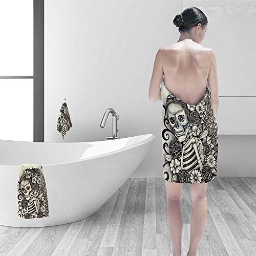 Extra Large Bath Towel The Dead Decor Spanish Mexican Festive Theme Skeleton Girl with Flowers Print Beige Easy Care Machine wash by Printsonne