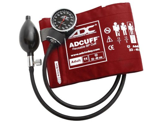 ADC Diagnostix 720 Pocket Aneroid Sphygmomanometer with Adcuff Nylon Blood Pressure Cuff, Adult, Red