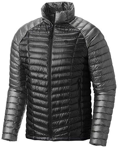 (Mountain Hardwear Mens Ghost Whisperer Insulated Down Water Repellent Jacket, Non-Hooded - Shark/Manta Grey - XXL)