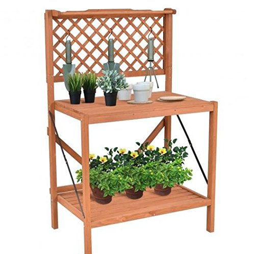 K&A Company Wood Potting Bench Top Handing Bar And Hook Planting Table Garden Foldable by K&A Company (Image #1)