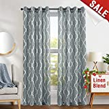 jinchan Moroccan Tile Print Curtains for Living Room Curtain - Lattice Flax Linen Blend Textured Grommet Quatrefoil Window Treatment Set for Bedroom Geometry - 50' W x 84' L - (2 Panels)