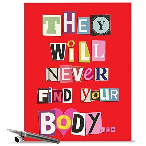 Find Card - NobleWorks J5456 Jumbo Funny Anniversary Card: 'NEVER FIND YOUR BODY ANNIVERSARY' with Matching Envelope