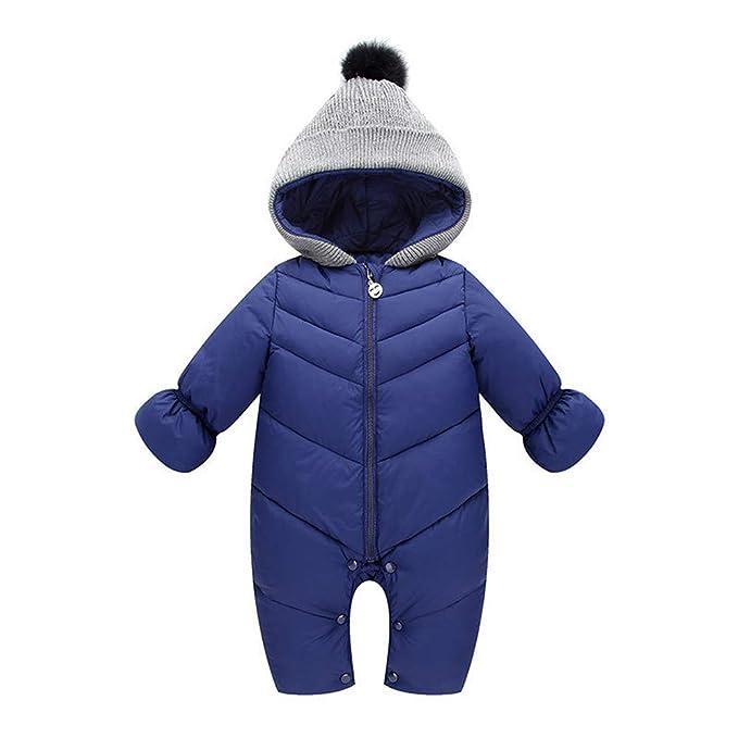 db114e0f3481 ZODOF Chaqueta de algodón cálida Mono para niños Recién Nacido bebé niña  niño Invierno con Capucha Mono Mameluco Grueso Ropa de Abrigo