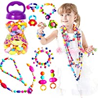 Pop Beads for Little Girl Toys, DIY Jewelry Making Kit for Kids, Necklace Bracelet Creativity Snap Pop Beads Set, Arts and Crafts Toys for Age 3, 4, 5, 6, 7 Year Old Girls Gifts