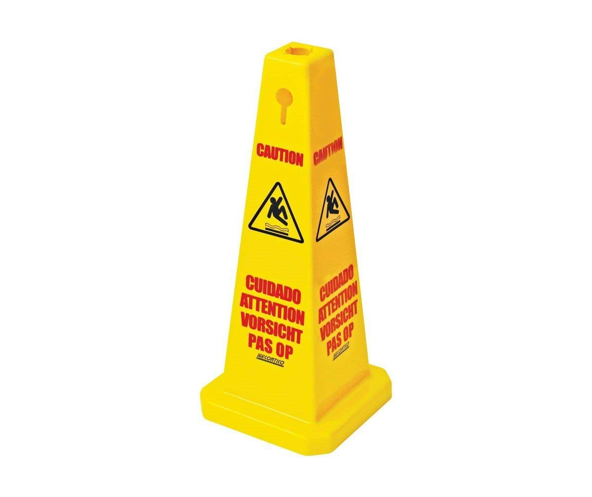 Comes With TCH Anti-Bacterial Pen! The Chemical Hut Wet Floor /& Caution Multilingual Safety Cones Warning Hazard Cone