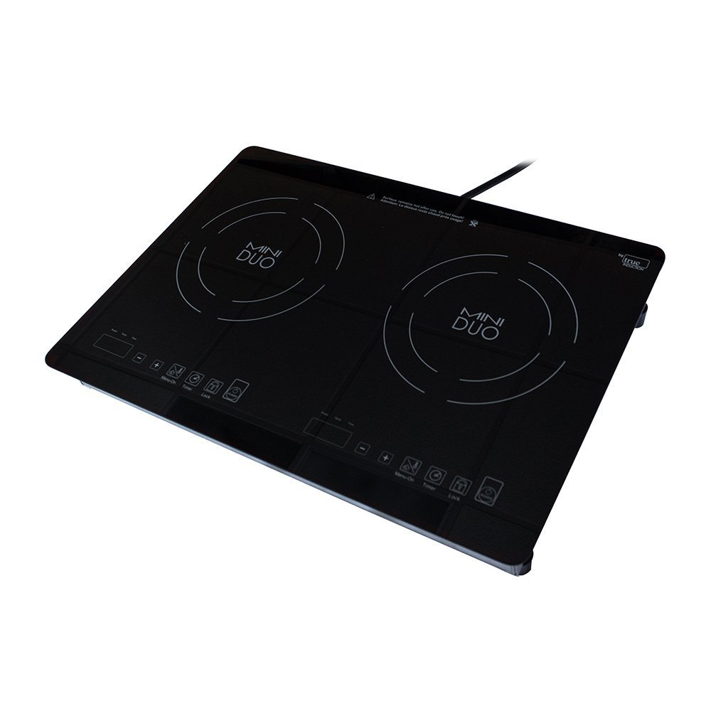 True Induction MD2B Mini Duo Portable Counter Inset Double Burner Induction Cooktop, 120V, Black