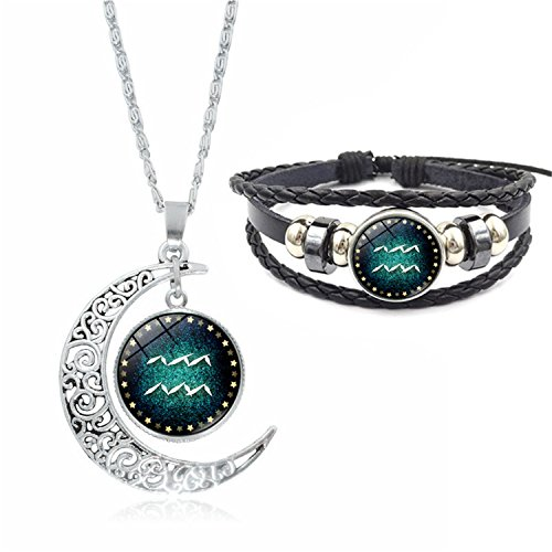 Fashion 12 Constellations Beaded Hand Woven Leather Bracelet And Moon Pendant Necklace Zodiac Sign Jewelry Set (Aquarius)