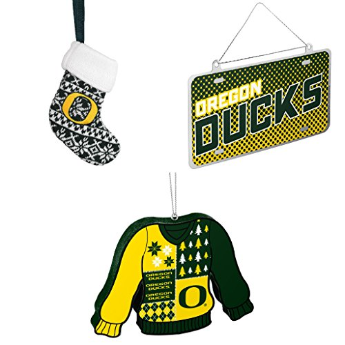 NCAA Oregon Ducks ORNAMENT STOCKING KNIT Metal License Plate Christmas Ornament Foam Ugly Sweater Bundle 3 Pack By Forever (Champions Christmas Stocking)